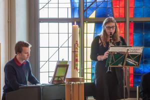 Musikalische Begleitung durch Andreas Sass (Klavier) und Tordis Hoffmann (Klarinette)